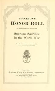 Brockton's honor roll of her sons who made the supreme sacrifice in the world war PDF