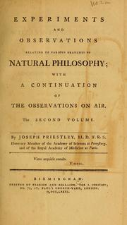 Experiments and observations relating to various branches of natural philosophy PDF