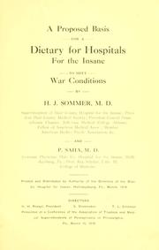 A proposed basis for a dietary for hospitals for the insane to meet war conditions PDF