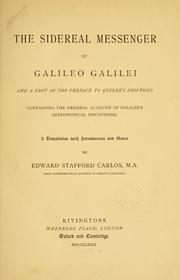 Sidereus nuncius by Galilei, Galileo