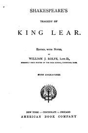 Cover of: Shakespeare's Tragedy of King Lear by William Shakespeare