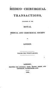 Cover of: Medico-chirurgical Transactions by Royal Medical and Chirurgical Society of London