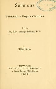 Sermons preached in English churches by Phillips Brooks