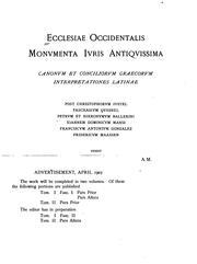 Ecclesiae occidentalis monvmenta ivris antiqvissima: canonvm et conciliorvm graecorvm ...