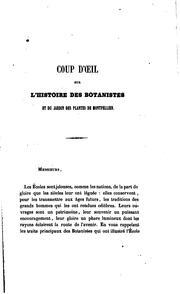 Coup d'oeil sur l'histoire des botanistes et du Jardin des plantes de Montpellier: Discours d .. PDF