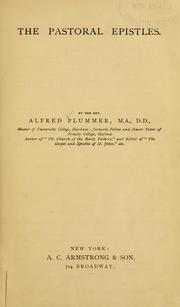 The pastoral epistles by Plummer, Alfred