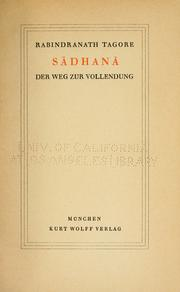 Cover of: Sadhana by Rabindranath Tagore