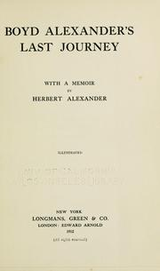 Cover of: Boyd Alexander's last journey by Alexander, Boyd