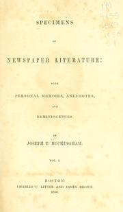 Cover of: Specimens of newspaper literature by Joseph T. Buckingham