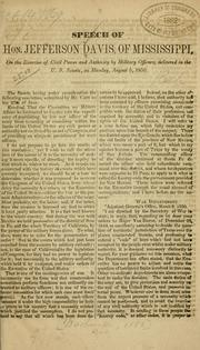 Speech of Hon. Jefferson Davis, of Mississippi by Jefferson Davis