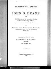 Biographical sketch of John G. Deane by Llewellyn Deane