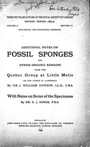 Additional notes on fossil sponges and other organic remains from the Quebec Group at Little Metis on the lower St. Lawrence PDF