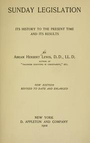 Sunday legislation by Abram Herbert Lewis