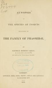 Synopsis of the species of insects belonging to the family of Phasmid PDF