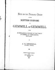 Cover of: Note on the probable origin of the Scottish surname of Gemmill or Gemmell