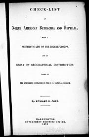 Check-list of North American Batrachia and Reptilia by Edward Drinker Cope