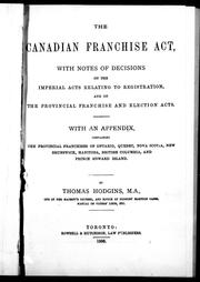 The Canadian Franchise Act by Thomas Hodgins