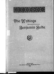 The writings of Benjamin Sulte by Henry J. Morgan