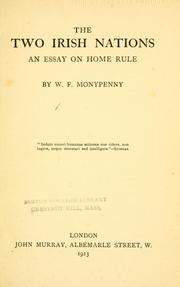 The two Irish nations by William Flavelle Monypenny