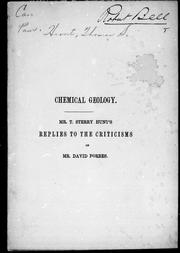 Chemical geology by Thomas Sterry Hunt