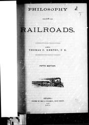 Philosophy of railroads by Keefer, Thomas C.