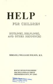 Help for children by Miriam J. Williams Wilson