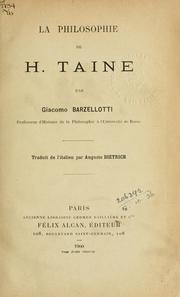 La philosophie de H. Taine by Giacomo Barzellotti