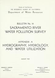 Sacramento River water pollution survey by California. Dept. of Water Resources.