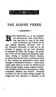 ...A bibliographical sketch of the Aldine press at Venice by Edmund Goldsmid