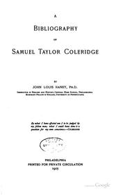 A bibliography of Samuel Taylor Coleridge by Haney, John Louis