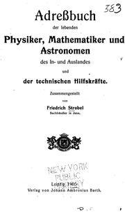 Adressbuch der lebenden physiker