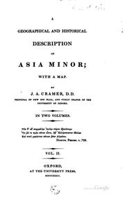 A geographical and historical description of Asia Minor by Cramer, J. A.