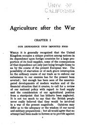 Agriculture after the war PDF