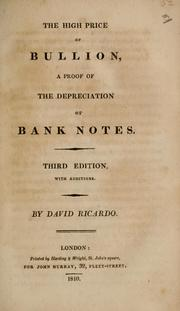 The high price of bullion by David Ricardo