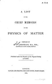 A list of the chief memoirs on the physics of matter PDF