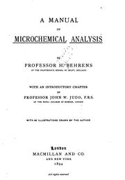 A manual of microchemical analysis by Behrens, Heinrich