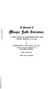 A manual of Æsopic fable literature by George C. Keidel