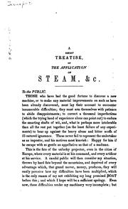 A short treatise on the application of steam by James Rumsey