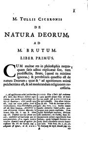 M. Tullii Ciceronis De natura deorum libri tres by Cicero