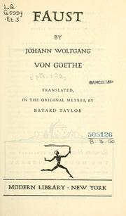 Le &quot;Faust&quot; de Goethe by Johann Wolfgang von Goethe
