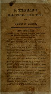 Cover of: The Baltimore directory for 1822 & '23 by C. Keenan