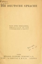 Die deutsche Sprache by Otto Behaghel