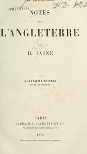 Notes sur l&#39;Angleterre by Hippolyte Taine