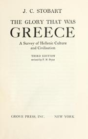 The glory that was Greece by J. C. Stobart