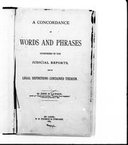 A concordance of words and phrases construed in the judicial reports and of the legal definitions contained therein PDF