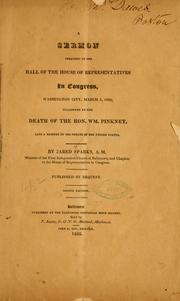 Cover of: A sermon, preached in the hall of the House of representatives in Congress by Sparks, Jared