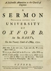 A seasonable admonition to the Church of England. A sermon preached before the University of Oxford, at St. Mary's, on the twenty ninth of May, 1751 PDF