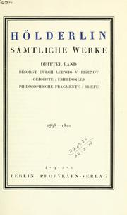 Smtliche Werke by Friedrich Hlderlin