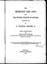 The Mechanics' Lien Acts by George Smith Holmested