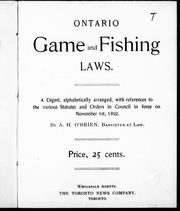 Ontario game and fishing laws by A. H. O'Brien